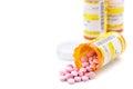 Prescription medication in pharmacy pill vials Royalty Free Stock Photo