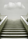 Presence artistic surreal imagine with a stairway with a cloud inside the room Stock Photos