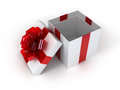 Present box with an elegant bow d Royalty Free Stock Photos