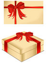 Present box and gift card Royalty Free Stock Image
