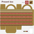 Present box with ornaments Royalty Free Stock Photography