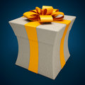 Present box thin on blue background Royalty Free Stock Image
