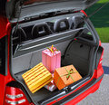 Present boxes in a car Royalty Free Stock Image