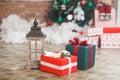 Present boxes under fir-tree