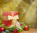 Present decorated with Christmas decoration Stock Photo