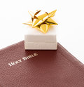 Present of gift based on faith or religion small box with a ribbon for a christmas is a season for presents Royalty Free Stock Photos