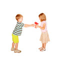 Present for valentine s day kids love little boy giving to little girl the gift birthday or other holiday isolated on white Stock Image