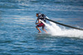 Presentation av flyboarden i long beach Arkivbilder