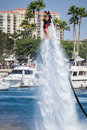 Presentation av flyboarden i long beach Royaltyfri Foto