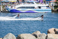 Presentation av flyboarden i long beach Royaltyfria Bilder