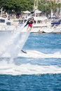 Presentation av flyboarden i long beach Royaltyfria Foton