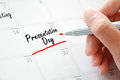 Presentation day texts on the calendar or desk planner underlined with red marker Royalty Free Stock Photo
