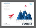 Presentation layout design template, Use in business leadership and success concept, Red plane flying on sky go to mountain with a Royalty Free Stock Photo
