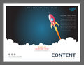 Presentation layout design template, Use in business startup and success concept, Launch space rocket flying with copy space Royalty Free Stock Photo