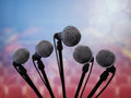 Presentation media microphones in convention center auditorium concept for press conference interview or Stock Image