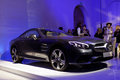 Presentation of new mercedes benz sl roadster st petersburg russia april during fashion day st petersburg the car transforms from Stock Photos