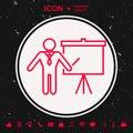 Presentation sign - line icon. Man standing with pointer near the flip chart. Blank empty billboard symbol