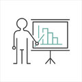Presentation sign teacher icon standing with pointer line vector illustration. Royalty Free Stock Photo