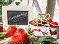 Presentation of strawberries fresh bio inscription in chalk on a blackboard Royalty Free Stock Photography