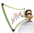 Presentation teacher businesswoman giving a hearty with line charts Royalty Free Stock Images