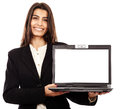 Presenting a laptop copyspace on the monitor indian businesswoman with Royalty Free Stock Photo