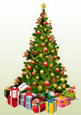 Presents around Christmas tree Stock Photo