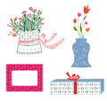 Presents boxes and flowers holidays set Stock Image