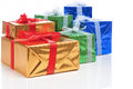 Presents and Celebration Concepts. Many Colorful Wrapped Up Gift Boxes Standing In Line Together