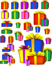 Presents, color boxes and bows Stock Photos