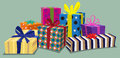 Presents group of wrapped with bows and colorful paper Royalty Free Stock Photography