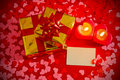 Presents and two candles with blank card Royalty Free Stock Images