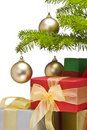Presents under decorated Christmas tree Stock Image