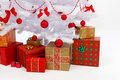 Presents under white christmas tree Royalty Free Stock Photos