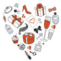 Presents-for-women-in-heart-shape Royalty Free Stock Photos
