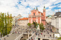 Preseren square and Franciscan Church of the Annunciation, Ljubljana, Slovenia, Europe. Royalty Free Stock Photo