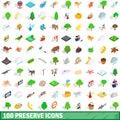 100 preserve icons set, isometric 3d style