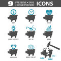 Preserve save icons set conservation with piggy bank and money time vector isolated on white background Stock Photography