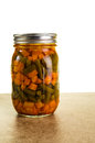 Preserved beans and carrots in a jar homemade of stored Stock Photos