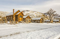 Preserved church and houses in a ghost town several homes now abandoned the of bannack bannack state park on lovely winter day Stock Image