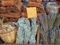Preserved orange slices cinnamon sticks and herbal tea athens central market precinct Royalty Free Stock Photos