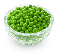 Preserved peas in crystal bowl Royalty Free Stock Photo
