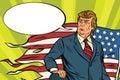President Donald trump with USA flag, battlefield