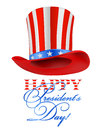 President hat on white happy s day greeting Stock Images
