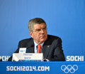 President of  International Olympic Committees Tomas Bach on a press conference Royalty Free Stock Photography