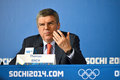 President of  International Olympic Committees Tomas Bach on a press conference Royalty Free Stock Photos