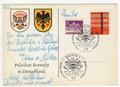 President Kennedy in Germany postcard Stock Images