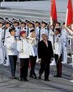 President Nathan inspecting guard-of-honor at NDP Royalty Free Stock Photo