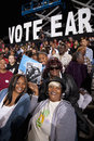 President obama black and white supporters under sign saying vote early at campaign rally october doolittle park Royalty Free Stock Photos