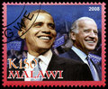 President Obama and Joe Biden Postage Stamp from Malawi Royalty Free Stock Photo