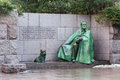 President roosevelt memorial washington dc outdoor view of franklin delano nd and his dog fala the statue depicts the with a cloak Royalty Free Stock Photography